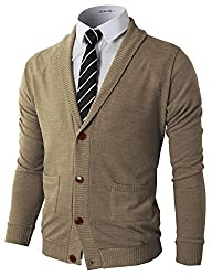 H2H Mens Basic Shawl Collar Knitted Cardigan Sweaters with Ribbing Edge BEIGE US S/Asia M (CMOCAL07)