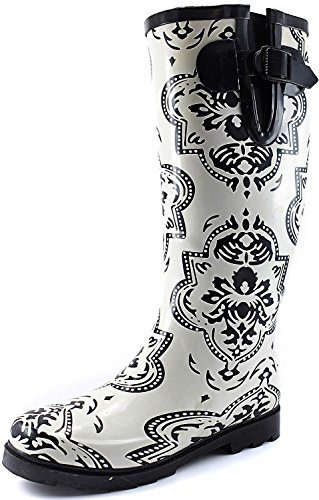Women's Puddles Rain and Snow Boot Multi Color Mid Calf Knee High Rainboots,Wht Medallion 11 B(M) US (Rain Boots Arch Support compare prices)