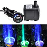 Kingda Electric Submersible Water Pump with 12 Colorful LED for Fountain Pool Garden Pond Fish Tank