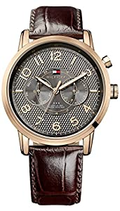 Tommy Hilfiger Calan Men's Quartz Watch with Grey Dial Analogue Display and Brown Leather Strap 1791084