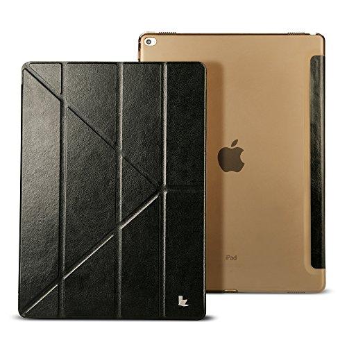 iPad Pro ケース 12.9'' 新型 Jisoncase® case for iPad Pro スマート カバー スリム 軽量型 オートスリープ スタンド機能 マグネット 三つ折り PUレザー 耐汚れ 耐摩擦 耐衝撃 アイパッドプロ シンプル 手作り ハンドメイド 全面保護 フリップ 人気 全三色 (黒 JS-PRO-10R10)