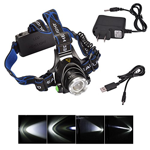 Ljy Hp79 1000Lm Cree Xm-L T6 Led 3-Mode Rotating Telescopic Focus Adjustable Zoom Headlamp Headlight With Usb Charging Cable & Ac Charger Set