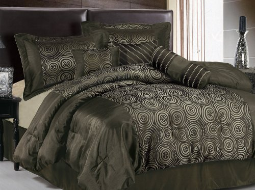 Chezmoi Collection 7 Pieces Luxury Coffee Faux Silk Embroidery Swirl Comforter Set / Bed-in-a-bag King Size Bedding