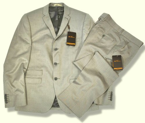 Ben Sherman Slim Fit 3 Button Mod Suit Tonic Silver 36 chest / 30 waist