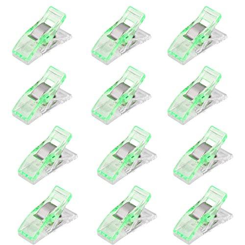 Lot de 50Pcs Clips Pinces en Plastique pour Reliure Couture Artisanat Vert et Transparent