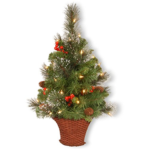 National Tree Crestwood Spruce Half Tree With Silver Bristle, Cones, Red Berries And Glitter In A Basket, 3-Feet
