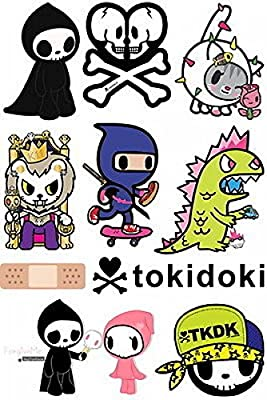 1 Set Effective Modern Tokidoki Cartoon Skateboard Snowboard Luggage Vinyl Car Stickers in one A4 Page Code F0064