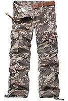 HAHOME 025 Vintage Style Combat Militaire Pantalon Cargo Pantalon Jambes Longues (Sans Ceinture)