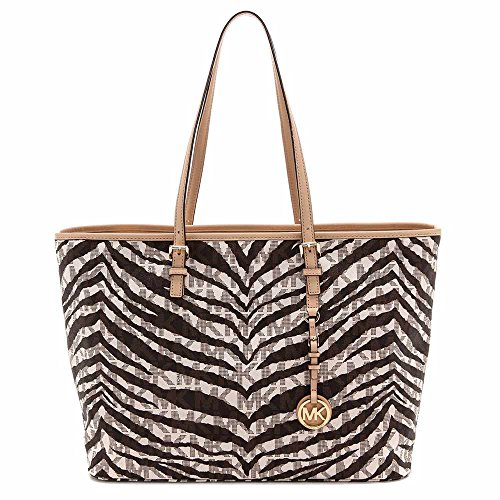 Michael Michael Kors Women'S Jet Set Travel Tiger Stripe Medium Tote, Vanilla, One Size front-658329