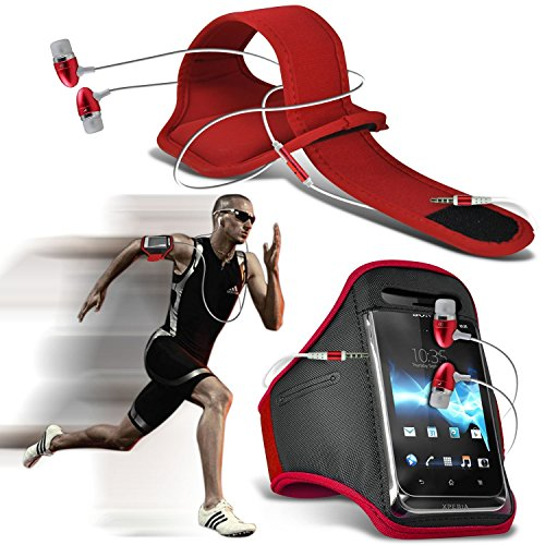 ( Red + Ear phone ) LG X power Case High Quality Fitted Sports Armbands Running Bike Cycling Gym Jogging Ridding Arm Band Case Cover With Case High Quality Fitted in Ear Buds Stereo Hands Free Headphones Headset with Built in Micro phone Mic and On-Off Button by i-Tronixs