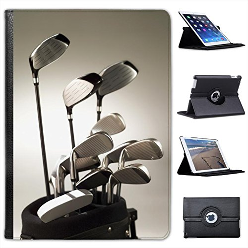 Golf Clubs in Golf Bag Ready to Play For Apple iPad Air 2 [2014 Version] Faux Leather Folio Presenter Case Cover Bag with Stand Capability
