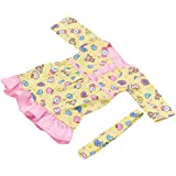 Magideal Cute Pattern Printed Full Sleeves Dress With Belt Outfit FOR 18 INCH American Girl Dolls Summer Clothing