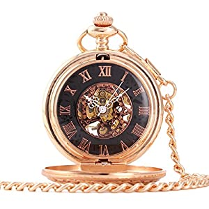 ALIENWOLF Antique Mechanical-hand-wind Pocket Watch with Chain and Box #9