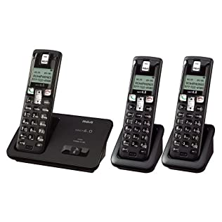 RCA Dect 6.0 Cordless Phone System (2101-3) with 3 Handsets - Black