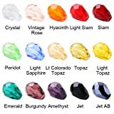 Beadnova Wholesale Assorted Mix Lot Xillion Bicone Faceted Round Teardrops Cube Artmeis Crystal Glass Beads For Jewelry Making Findings 5x7mm 750pcs Color Mix Lot/#5500 TearDrops AD