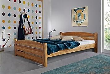 XXS® Möbel Massiv Holz Bett Theo 140 x 200 cm Wildeiche geölte, pflegeleichte Oberfläche naturliches Design hochwertige Verarbeitung