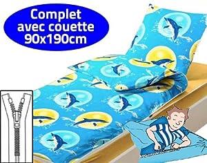 caradou couchage enfant 4 pi ces avec couette 90x190cm dauphins cuisine maison. Black Bedroom Furniture Sets. Home Design Ideas