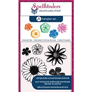 Hampton Art Cling and Die Pink Diffusion Flowers Rubber Stamp