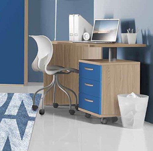 Scrivania con cassettiera modello Hurrà cm L135 - Colore Olmo e Blu
