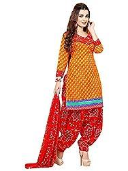 PARISHA Crepe Yellow & Red Women's Patiyala Suit CC1214
