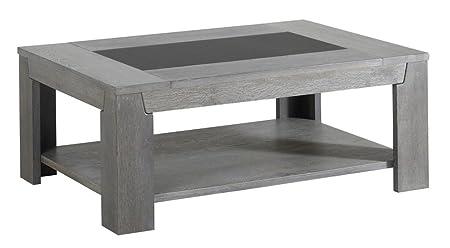 Table basse coloris Chêne gris, H 42 x L 110 x P 80 cm -PEGANE-