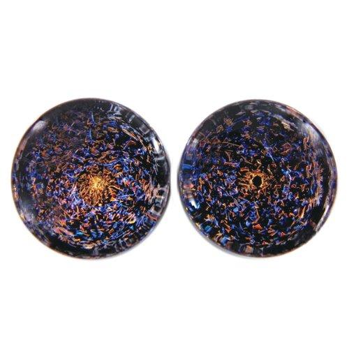 Orange Blue Foil Galaxy Glass Plugs - Double Flare - 9/16