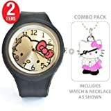 Large Face Hello Kitty Sports Silicone Quartz Wrist Watch in Black with Hello Kitty Pirate Charm Pendant Necklace -- COMBO PACK