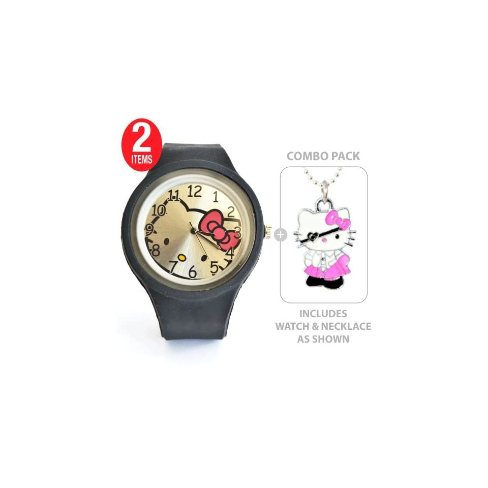 Large Face Hello Kitty Sports Silicone Quartz Wrist Watch in Black with Hello Kitty Pirate Charm Pendant Necklace    COMBO PACK
