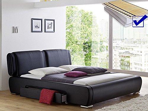 Polsterbett schwarz Bett 180×200 cm + Lattenrost + Matratze + 2x Bettkasten Doppelbett Designerbett Cesano günstig