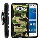 Galaxy Grand Prime Case, Galaxy Grand Prime Holster, Two Layer Hybrid Armor Hard Cover with Built in Kickstand for Samsung Galaxy Grand Prime SM-G530H, SM-G530F (Cricket) from MINITURTLE | Includes Screen Protector - Green Camouflage