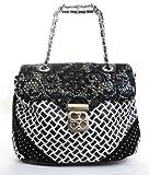 Weaved Leatherette Lace Detail Studded Fashion Handbag Purse
