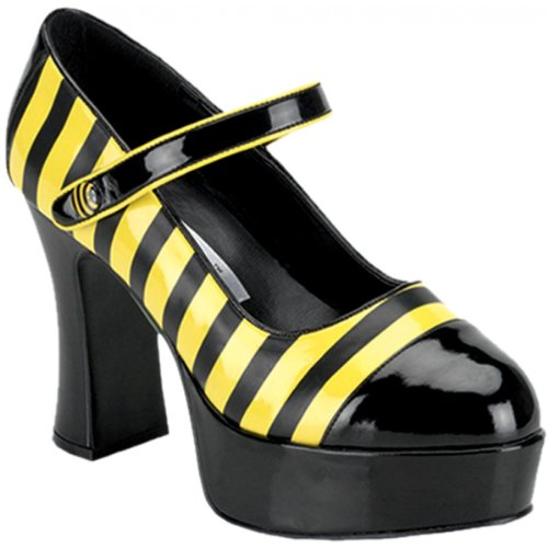 Funtasma By Pleaser Women'S Halloween Buzz-66,Black-Yellow Patent,6 M