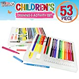 US Art Supply 53 Piece Children's Art and Activity Drawing and Marker Pen Set - Kids Arts and Crafts Projects - Washable Color Changer Markers - Colored Pencils - Highlighters - Oil Pastels