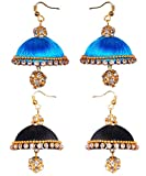 sky blue black silk thread jhumki earrings - two set (RK-BLK-SKBLU-SLKERNG)