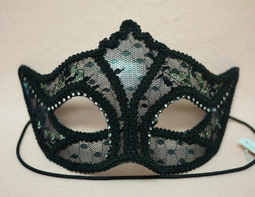 Venetian Party Wear Mask Cover w/ Black Lace and Rhine Stone