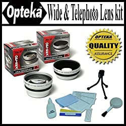 Opteka 0.45x Wide Angle & 2.2x Telephoto HD2 Pro Lens Set for Nikon Coolpix P80 Digital Camera