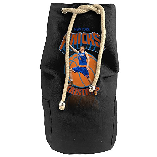 [HotChill Kristaps #4 Porzingis Vertical Bucket Cylindrical Shaped Canvas Drawstring Sports Shoulders Backpack Bags] (Make Shoulder Pads Football Costume)