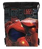 Disney Big Hero 6 Mech Bay Max and Hero Drawstring String Backpack School Sport Gym Tote Bag!- Black