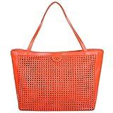 Tory Burch Erica Weaver Leather Shopper Tote Poppy Red