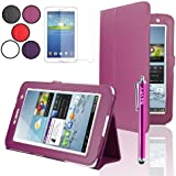 "SAVFY® Samsung Galaxy Tab 2 7.0 Leather Case Cover and Flip Stand, Bonus: Screen Protector + Stylus Pen + Clean Cloth (for Galaxy Tab 2 7"" INCH P3100 P3110) (flip stand HOT PINK)"