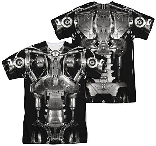 [Terminator - Endoskeleton Costume (Front - Back Print) T-Shirt Size XXL] (Cameron Terminator Costume)