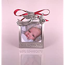 "2016 First Grandchild Photo Christmas Ornament 3""4"" Brushed Pewter MADE IN USA"
