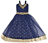New Kings Collection Girls' Silk Dress (15, Blue, 8-10 Years)