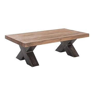 Couchtisch Wohnzimmertisch Xano 120x70, Industrie-Design, Massivholz Holz Eiche massiv / Metall, Breite 120 cm, Tiefe 70 cm, Höhe 40 cm