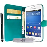 Etui Housse Luxe Turquoise Stand et Portefeuille pour Samsung Galaxy Trend Lite S7390 + STYLET et 3 FILM OFFERT !