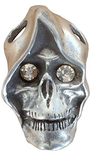 Unisex Uomo e Donna Ticila ciondolo a forma di teschio cromato Mode drachensilber MONK in vetro con Strass e occhio antico argento colore