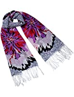 Dahlia Women's 100% Merino Wool Pashmina Scarf - Ink Painting Flower Style