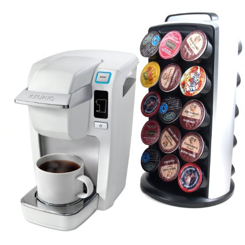 Keurig K10 Mini Plus White Single Cup Personal Brewer With Rotating 30 K-Cup Carousel Tower front-594592
