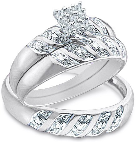 """Cheapest Size – 7 – 10k White and Yellow 2 Two Tone Gold Mens and Ladies Couple His & Hers Trio 3 Three Ring Bridal Matching Engagement Wedding Ring Band Set – Round Diamonds – Princess Shape Center Setting (.09 cttw) – SEE """"PRODUCT DESCRIPTION"""" TO CHOOSE BOTH SIZES"""