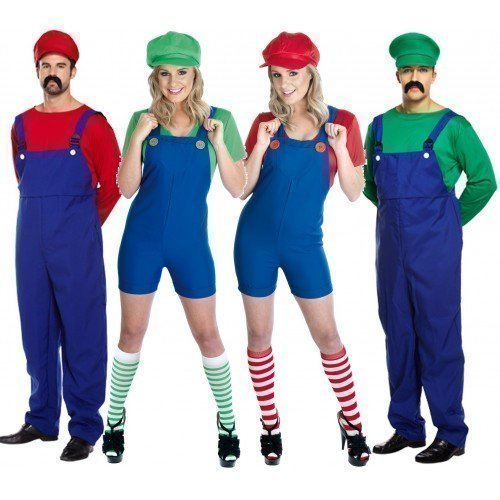 Couples Adults Mens & Ladies Mario and Luigi Costumes. Sizes 8 to 22